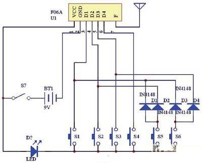 3口,另一路径隔离二极管d7~d10,控制三极管q8的导通,从而使单片机