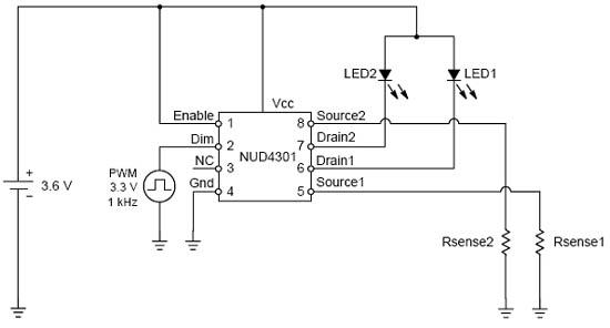 采用线性稳压器nud4301做为推动小型lcd面板背光的两颗led驱动电路