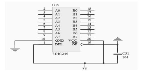 图4 74HC245驱动电路   2.4显示板的驱动电路   LED显示板的面积很大,它的正面由LED 显示块级联而成,背面是驱动电路。由于LED的驱动电流相对较大,驱动电路应尽量和LED点阵模块靠近。因此行列驱动器一般都安装在屏体的背面。LED显示板的驱动电路中采用了74HC595芯片,是硅结构的CMOS器件,兼容低电压TTL电路,具有8位串入并出的移位、并行锁存和三态输出功能。移位寄存器和锁存器使用独立的时钟,数据SDATA 在SCLK的上升沿输入移位寄存器,在LT的上升沿进入的锁存器中去。当使能信