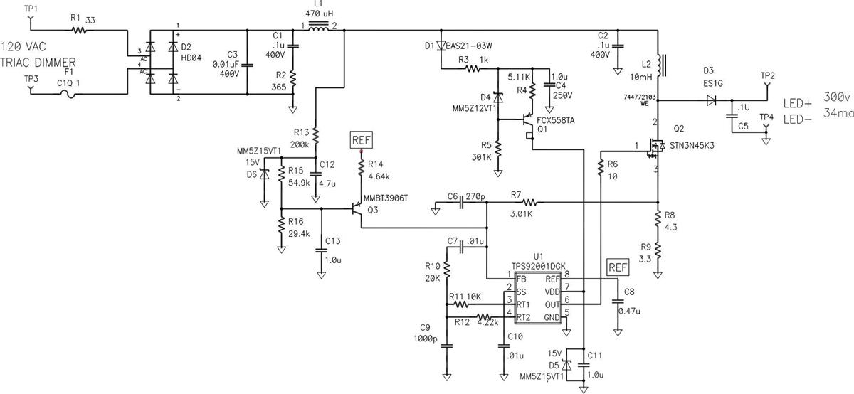 图 3 利用升压电源提高 LED 驱动器效率   图 4 为图 1-2 示意图所描述电源的照片。即使这种电源产生的输出功率大致相同,但也存在一些影响电源尺寸的明显差异。升压电源的电感器尺寸明显更小,因为其蓄能要求更低。相比升压电源,降压电源有一个更大的电阻器。该电阻器为一个仿真负载电阻器(图 2 所示 R20),用于决定调光器何时开启硅控整流器 (SCR)。需要这样做的原因是,调光器在三端双向可控硅开关组件旁边有一个电磁干扰 (EMI) 抑制电容器,其在无负载情况下的电压相对电源要高。这样便扰乱了电源,