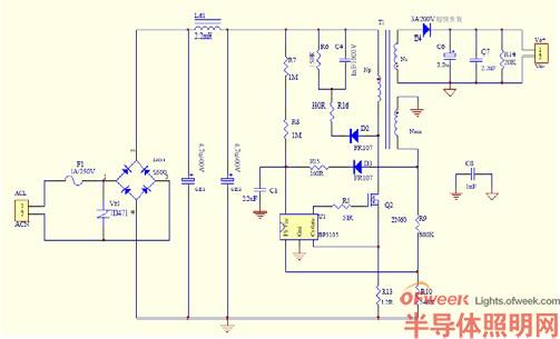 如图9 所示ac/dc 恒流源电路图,因此设计的psr 电源电路简洁,使用元