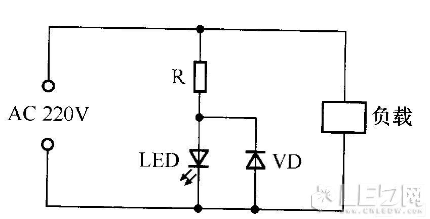 交流电源指示灯电路