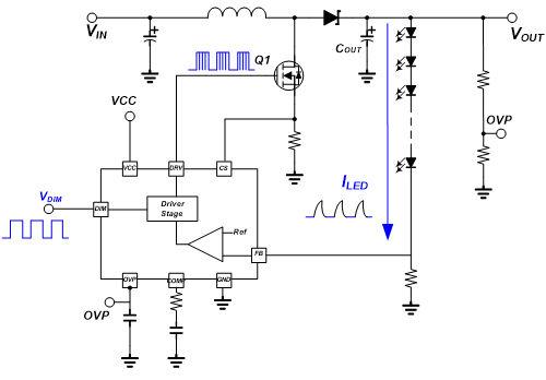 led背光 > led背光控制器调光方式探讨     图(五)是一个升压单串led