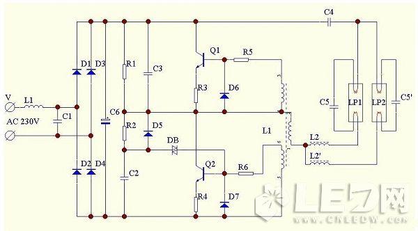 常见双管节能灯电路原理图