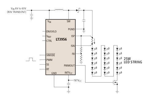 以地为基准的电压fb引脚作为多个led保护功能的输入,也可以使转换器产