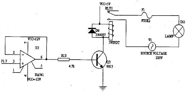 图9 继电器驱动及照明电路图