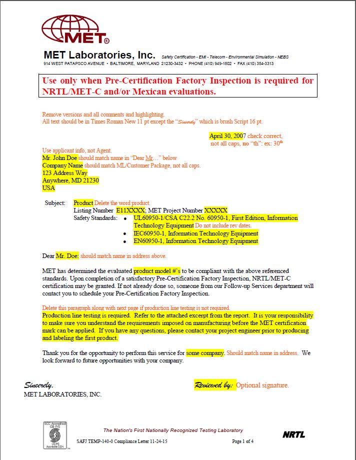 北美MET认证,LED灯具UL标准的MET认证的申请方法和流程