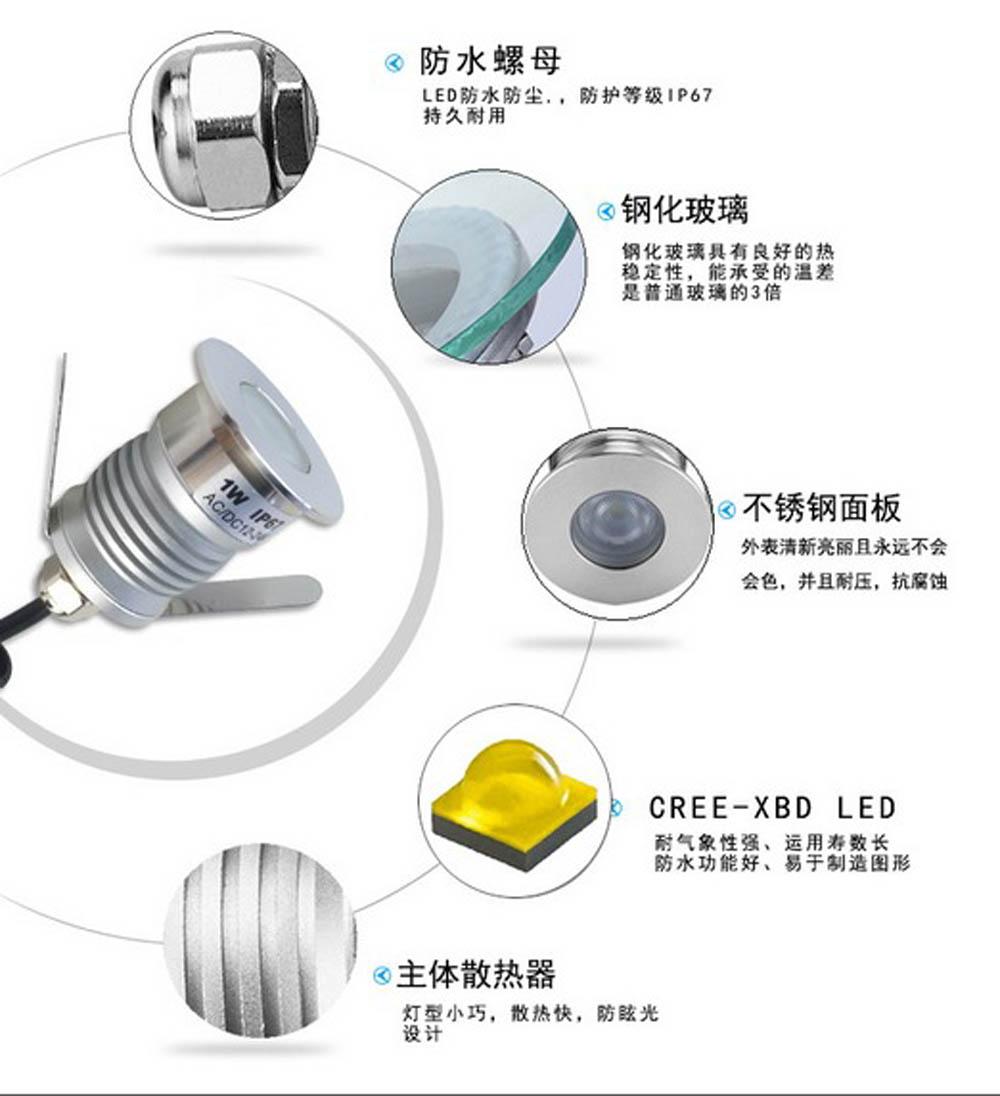 最小的Led地埋灯1W户外LED圆形地埋灯品牌厂家批发