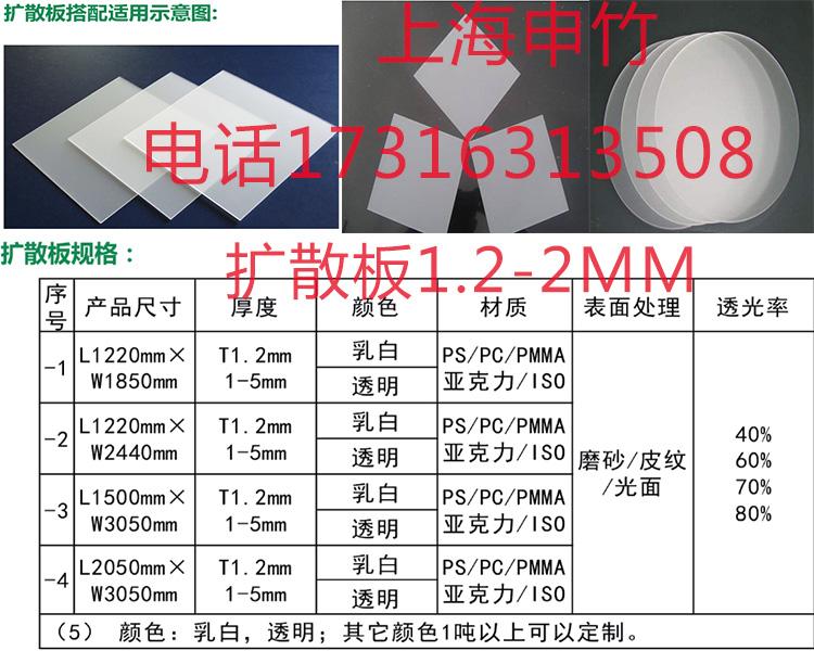 上海pc光扩散板 LED灯光板 PS单面磨砂扩散板