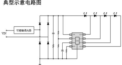 智能可控硅调光 线性方案SM2315E高PF低THD恒流IC