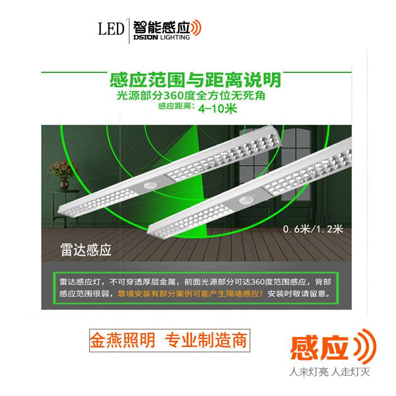 感应灯管 雷达感应灯管 LED日光灯 智能车库灯