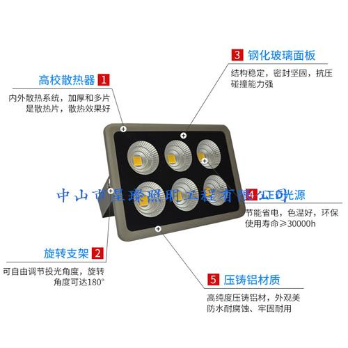 250w大功率LED投射灯 户外防水塔吊投光灯