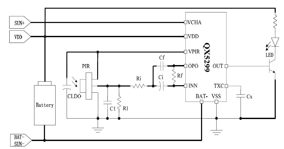 QX5209太阳能人体感应LED灯芯片
